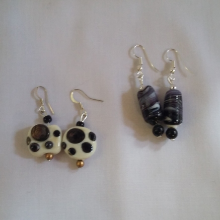 Handmade glass bead earrings by Kay Beale