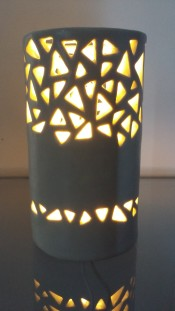 Handcarved lamp by Raquel Stevens