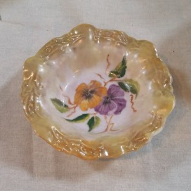'Pansy' handpainted ceramic dish by Irene Perkin