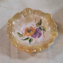 'Pansy' handpainted ceramic dish by Irene Perkin